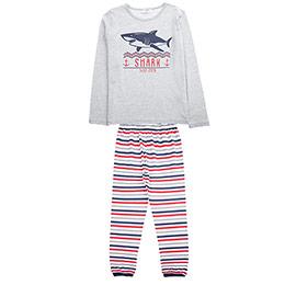 Genç Erkek Pijama Takımı Gri Melanj (8-12 Yaş)