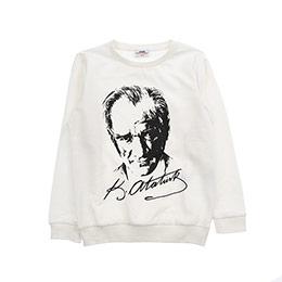 Genç Erkek Atatürk Baskılı Sweatshirt Kırık Beyaz (8-12 Yaş)