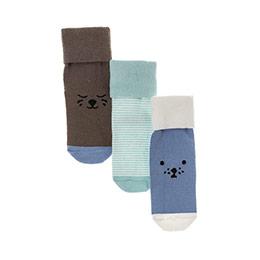 Erkek Bebek 3lü Soket Çorap Mavi (14-22 numara)