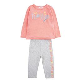 Kız Bebek Alt Üst Örme Set Neon Turuncu (12-24 ay)