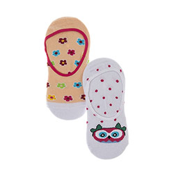 Kız Çocuk 2li Babet Çorap Krem (23-34 numara)