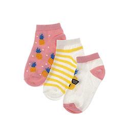 Kız Çocuk 3lü Patik Çorap Pembe (23-34 numara)