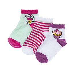 Kız Çocuk 3lü Patik Çorap Fuşya (23-34 numara)