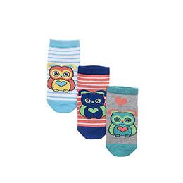 Kız Çocuk 3lü Patik Çorap Mix (23-34 numara)
