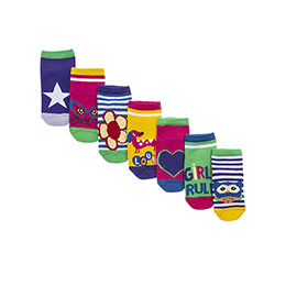 Kız Çocuk 7li Patik Çorap Yeşil (23-34 numara)