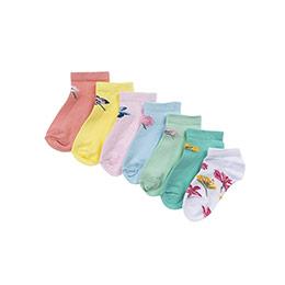 Kız Çocuk 7li Patik Çorap Mix (23-34 numara)