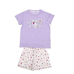 Kız Çocuk Pijama Takımı Lila-Beyaz (3-7 Yaş)