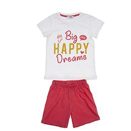 Kız Çocuk Pijama Takımı Mercan-Beyaz (3-7 Yaş)