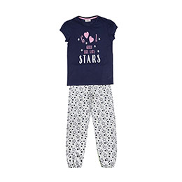 Genç Kız Pijama Takımı Gri Melanj-Lacivert (8-12 Yaş)