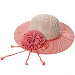 Kız Çocuk Hasır Şapka Pudra (3-7 Yaş)