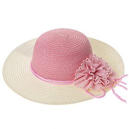 Kız Çocuk Hasır Şapka Pembe (3-7 Yaş)