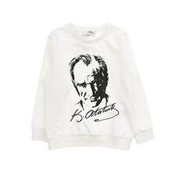 Kız Çocuk Atatürk Baskılı Sweatshirt Kırık Beyaz (3-7 Yaş)