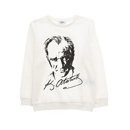 Genç Kız Atatürk Baskılı Sweatshirt Kırık Beyaz (8-12 Yaş)