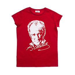 Genç Kız Atatürk Baskılı Tişört Kırmızı (8-12 Yaş)