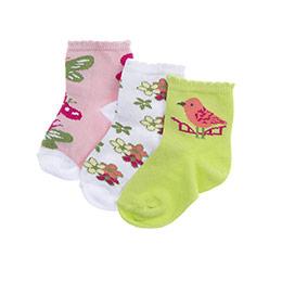 Kız Bebek 3lü Soket Çorap Beyaz (14-22 numara)