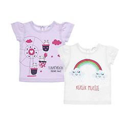 Yenidoğan Kız 2li Tişört Set Lila (3-15 ay)